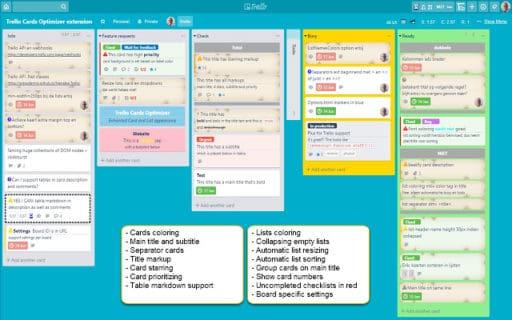 A screenshot of Trello Cards Optimizer