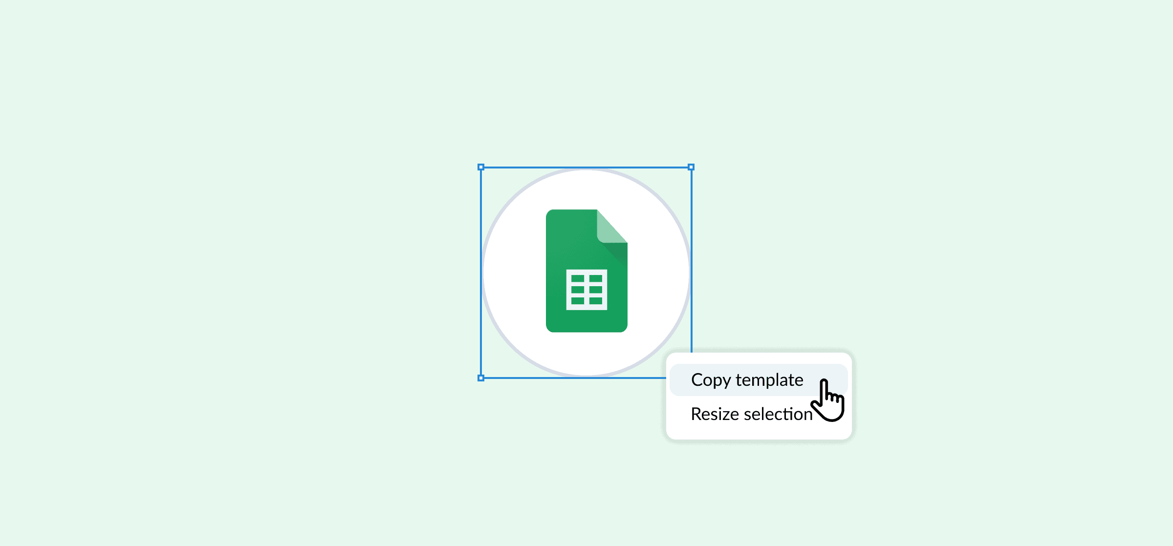 The Google Sheets logo, with a dropdown menu on which Copy Template is highlighted, representing Google Sheets project management.